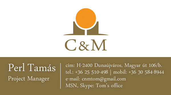 C&M - Sundole logó és C&M névjegykártya