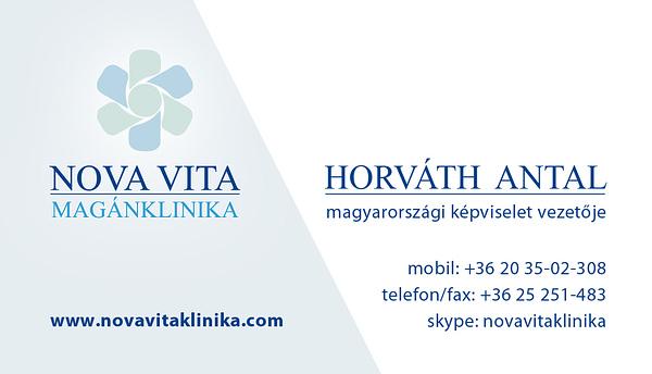 Nova-Vita Magánklinika reklám és névjegykártya