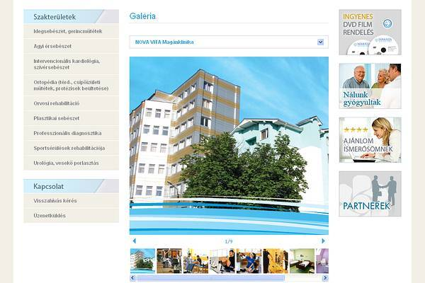 Nova-Vita Magánklinika honlapja