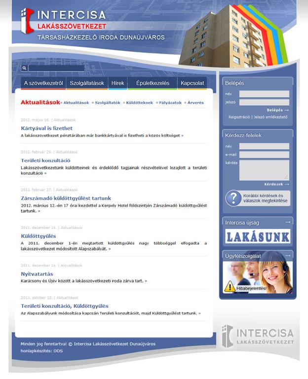 Intercisa Lakásszövetkezet honlapja