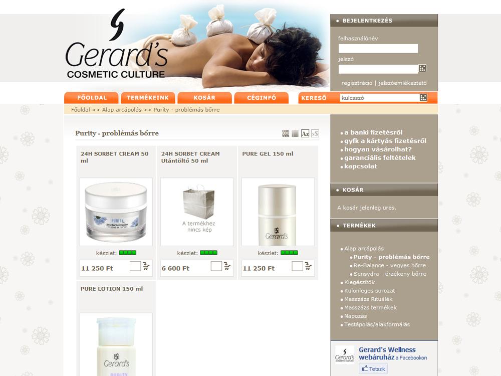 Gerards kozmetikai termékek webáruháza