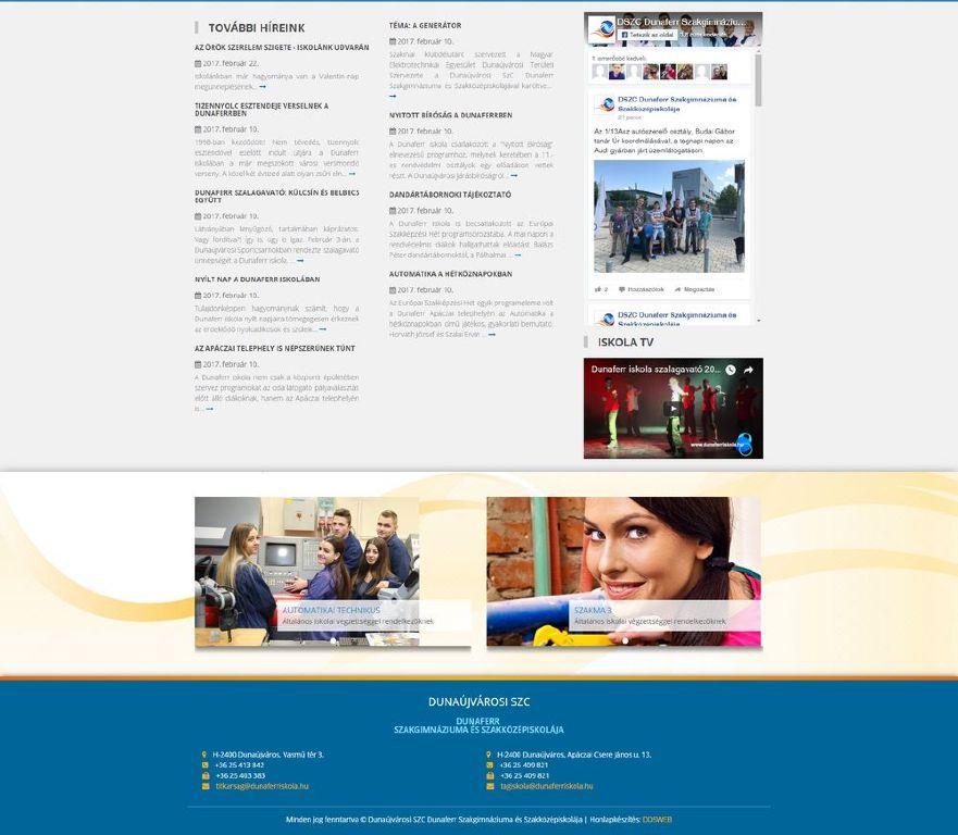 DSZC Dunaferr Iskola honlapja